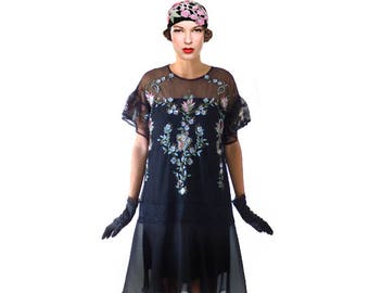 Retro Black Lace Embroidery Flapper Dress, Great Gatsby Lace Low Waist Flapper Costume 1920s Shift Aline Roaring 20s Downton Abbey 1920