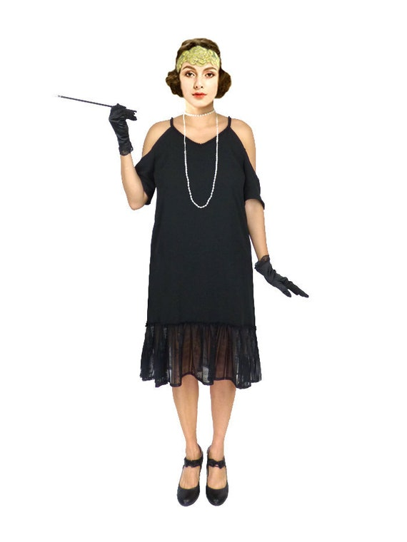 1920s Dress, Roaring 20s Dress, Black Flapper Dress, Black Shift Dress,  Downton Abbey Dress, Great Gatsby Dress, Plus Size Dress,Loose Dress