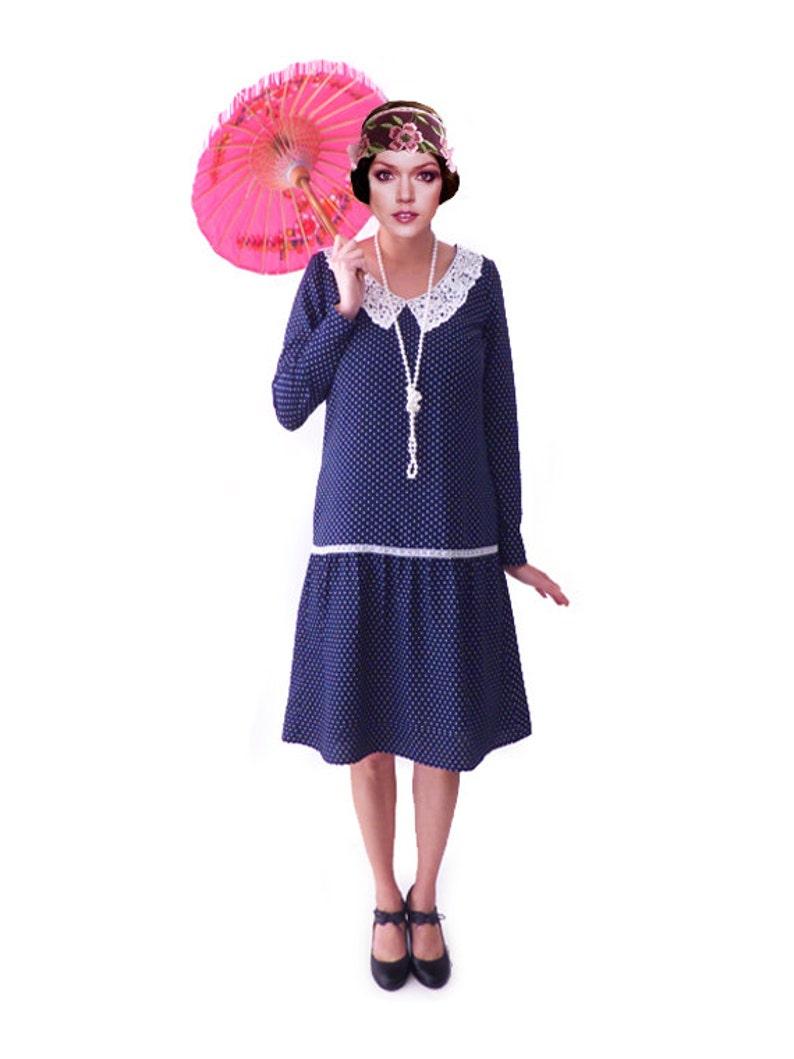Polka Dot Dress, Peter Pan Collar Dress, Flapper Dress, 1920s Dress,  Roaring 20s Dress,Blue White Dress, Downton Abbey Dress,Plus Size Dress