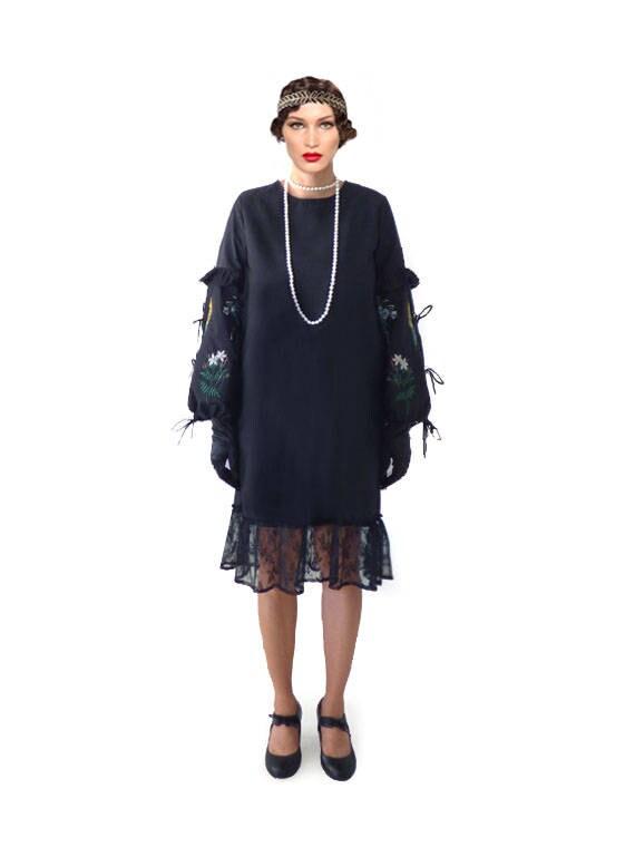 robe ann e 20 robe charleston robe noir robe taille etsy. Black Bedroom Furniture Sets. Home Design Ideas