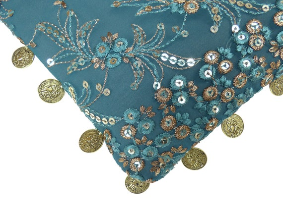 Borsa ricamo paillettes, fiori, verde blu oro pezzo valuta francese, tendenza, accessorio, elegante Cocktail, cinturino ricamato,