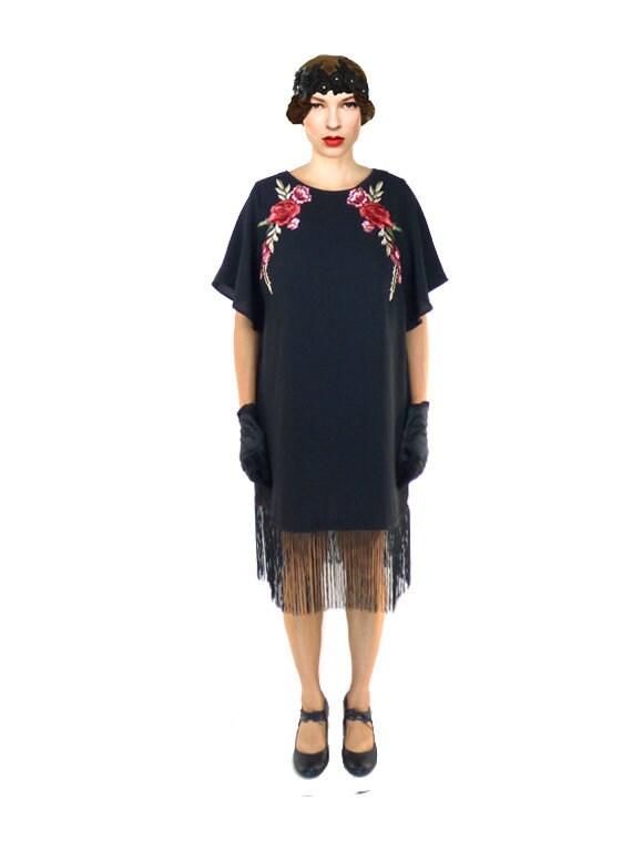 Fringe Flapper Dress Black Great Gatsby Floral Lace 1920s Etsy