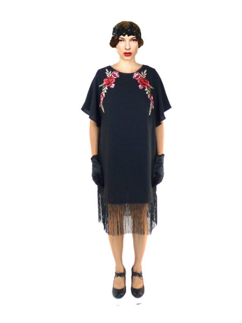 Fringe Flapper Dress Black Great Gatsby Floral Lace 1920s Roaring 20s  Downton Abbey Sheath Loose Custom Plus Size Butterfly Flouce Sleeve