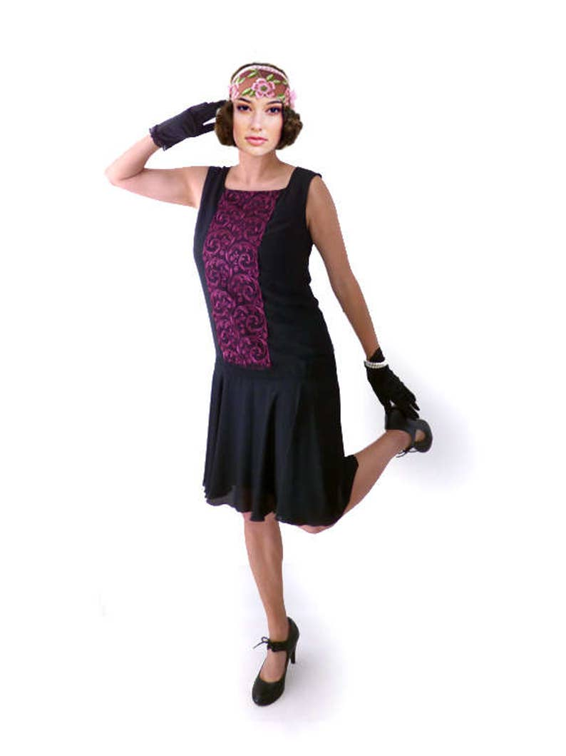 Find Downton Abbey Style Dresses in the UK Retro Flapper Dress Roaring 20s Great Gatsby Dress Downton Abbey Dress Flapper Costume Custom Size Chiffon BlackLace Purple 1920s $98.00 AT vintagedancer.com
