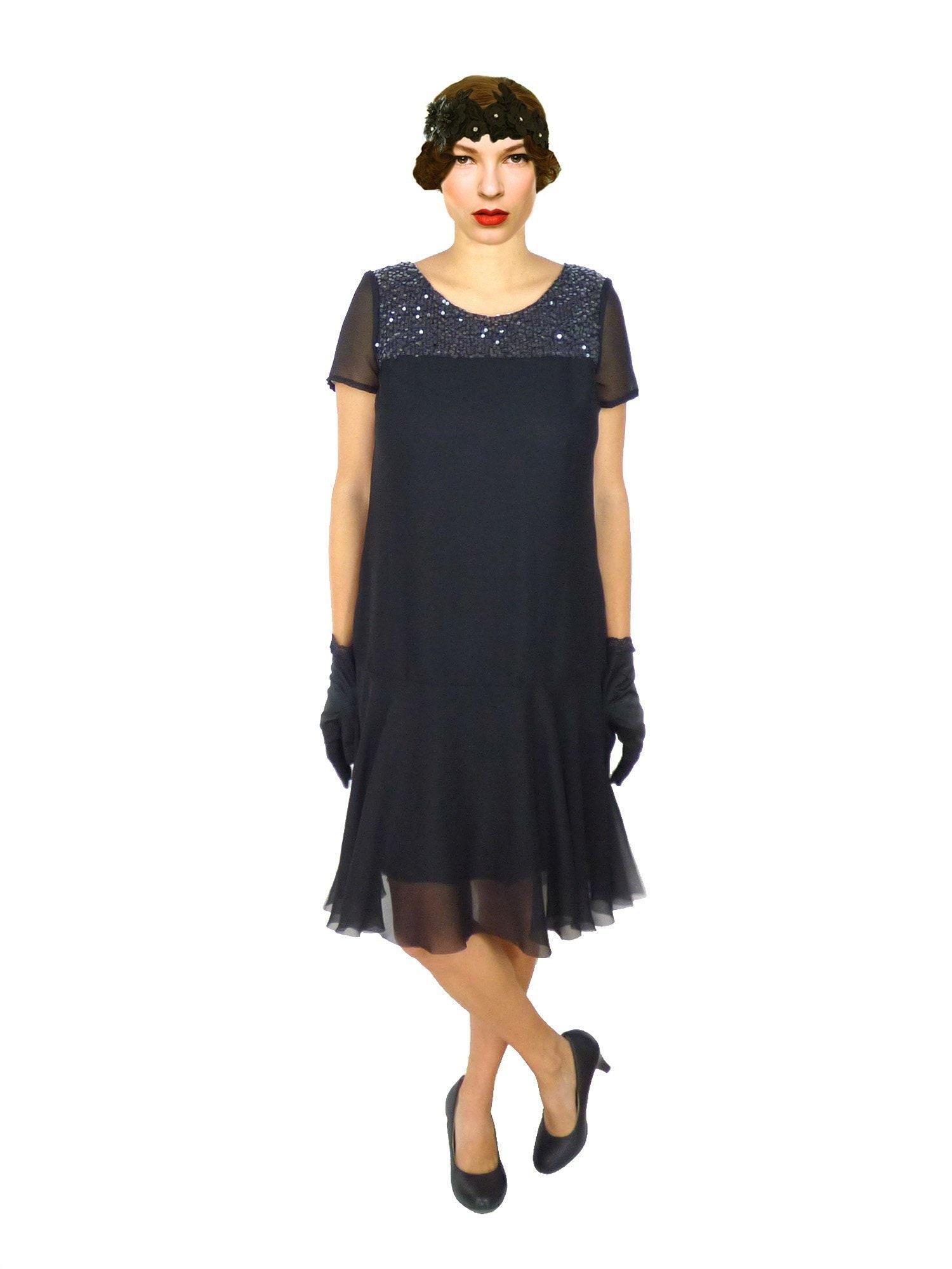 1920s Black Sequin Dress, Flapper Dress, Roaring 20s, Miss Fisher, Sheath,  Downton Abbe, Great Gatsby, Party, Plus Size , Short Sleeve Dress