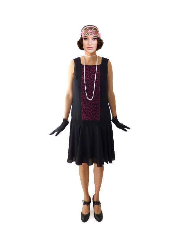 d6f6682d69a Retro Flapper Dress, Roaring 20s, Great Gatsby Dress, Downton Abbey Dress,  Flapper Costume, Custom Size, Chiffon, Black,Lace, Purple, 1920s