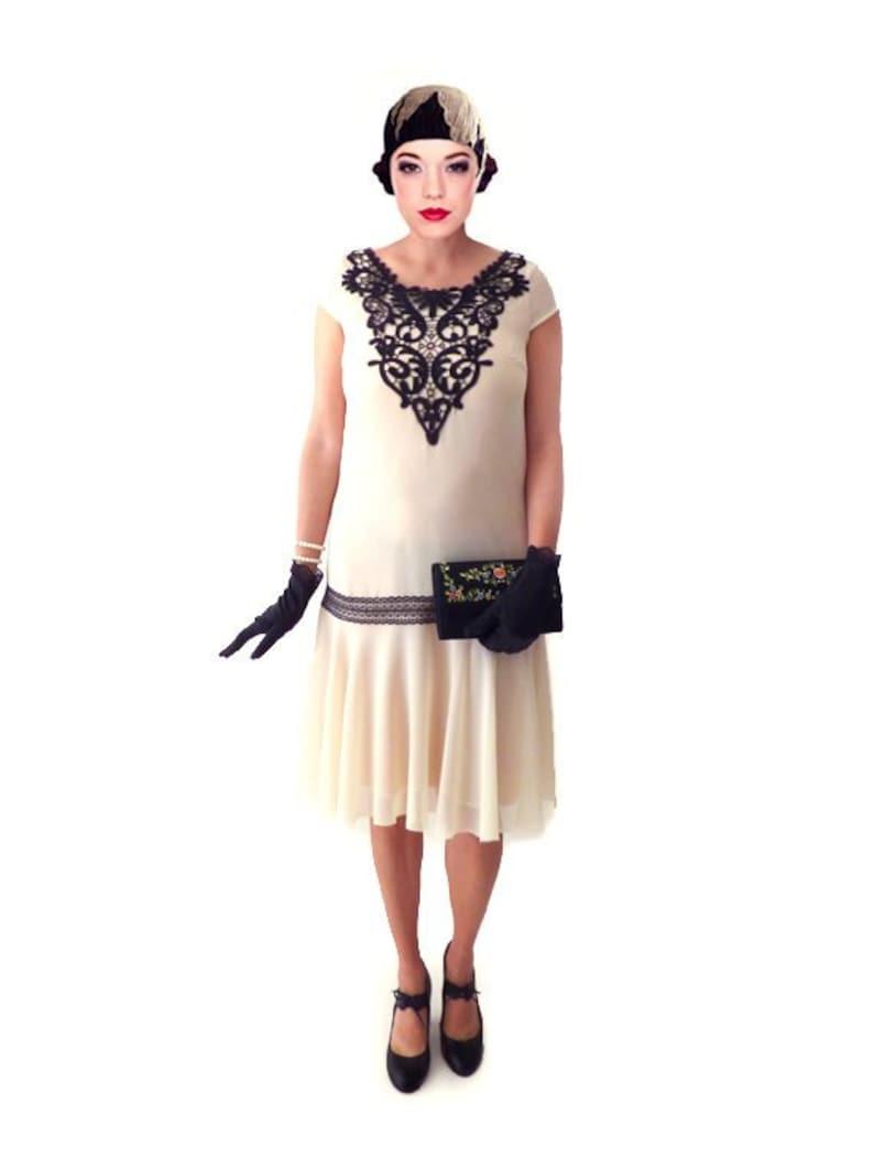 1920s Dress, 20s Dress, Roaring 20s Dress, Flapper Dress, Great Gatsby  Dress, Downton Abbey Dress, Ivory Dress, Plus Size Dress,Custom Dress