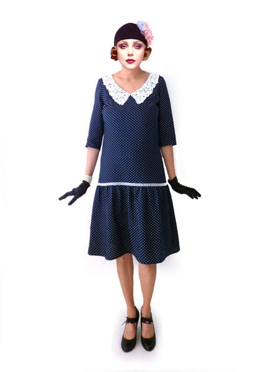 Vintage Polka Dot Dresses – 50s Spotty and Ditsy Prints  Polka Dot Dress  Great Gatsby Dark Blue Costume 1920s Dress 20s Dress Roaring 20s Downton Abbey Lace Retro Flapper Dress Retro $91.00 AT vintagedancer.com