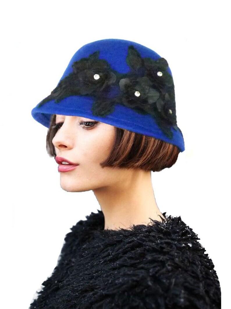 6fc05267cd3 Cobalt Blue Cloche Hat Flapper Hat 1920s Hat 20s Hat Black