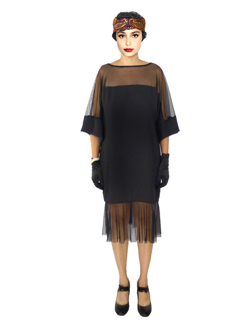 1920s Dresses UK | Flapper, Gatsby, Downton Abbey Dress Retro Flapper Dress Black Cold Shoulder Great Gatsby Fringe Costume 1920s Roaring 20s Downton Abbey Shift Loose Oversized Custom Plus Size $99.00 AT vintagedancer.com