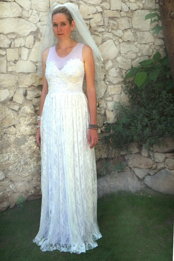 Lace Wedding Dress Flapper Bridal Gown Fishtail Mermaid Style Floral Boho Simple Low Back Open Back Ivory Beach Ethereal Leila Custom Size