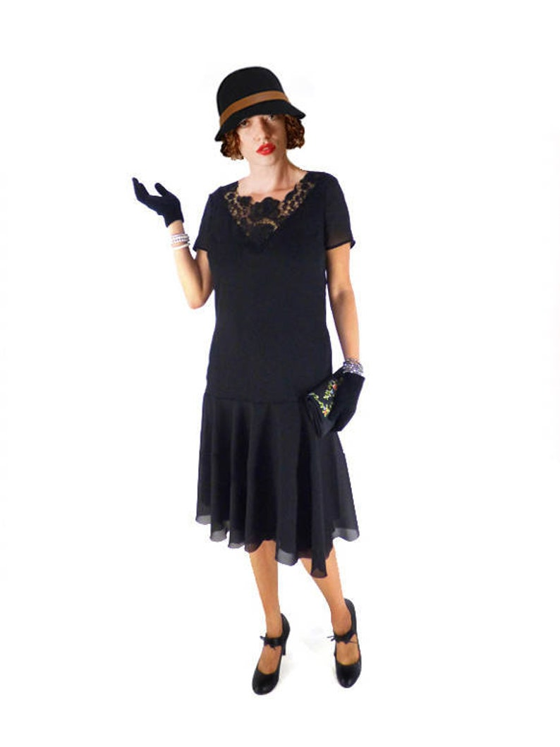 1920s Outfit Ideas: 10 Downton Abbey Inspired Costumes 1920s black flapper dress for Great Gatsby Dress in custom size and plus size folden roses $130.00 AT vintagedancer.com