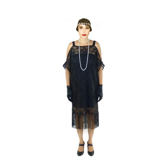 Flapper Dress Black Lace Cut Out Shoulder Great Gatsby Fringe Etsy