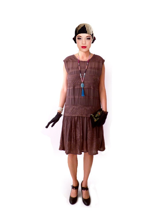 1920s Dress, 20s Dress, Roaring 20s Dress, Flapper Lace Dress, Gatsby  Dress, Downton Abbey Dress, Brown Shift, Custom Plus Size, Christmas