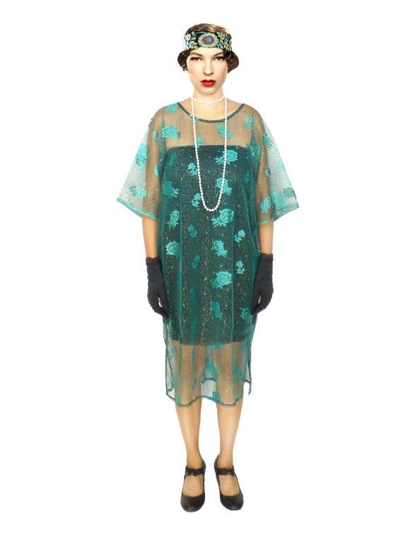 Green Lace Kaftan, Lace Kaftan, Green Kaftan, 1920s Dress, Vintage Kaftan,  Loose Dress, Oversized Dress, Kaftan Plus size, Custom Kaftan