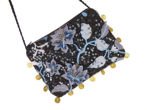 Borsa ricamo paillettes, fiori valuta francese nero camera blu, dorato, tendenza, accessorio, elegante Cocktail, tracolla ricamato,