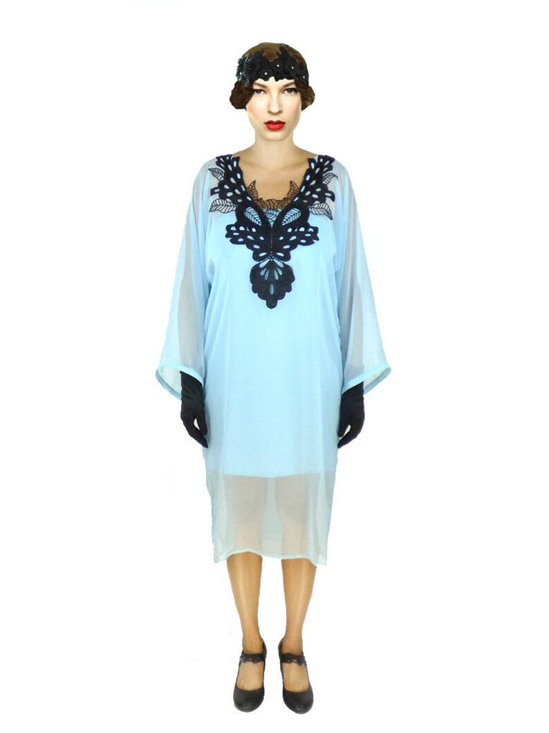 Blue Kaftan, Chiffon Kaftan, Plus Size Kaftan, Oversized Dress, Loose  Dress, Shift Dress, 1920s Dress, Midi Dress,Custom Kaftan,Kimono Dress