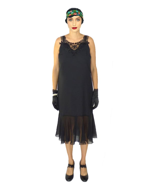 Flapper Dress 1920s Dress Roaring 20s Dress Black Dress Etsy