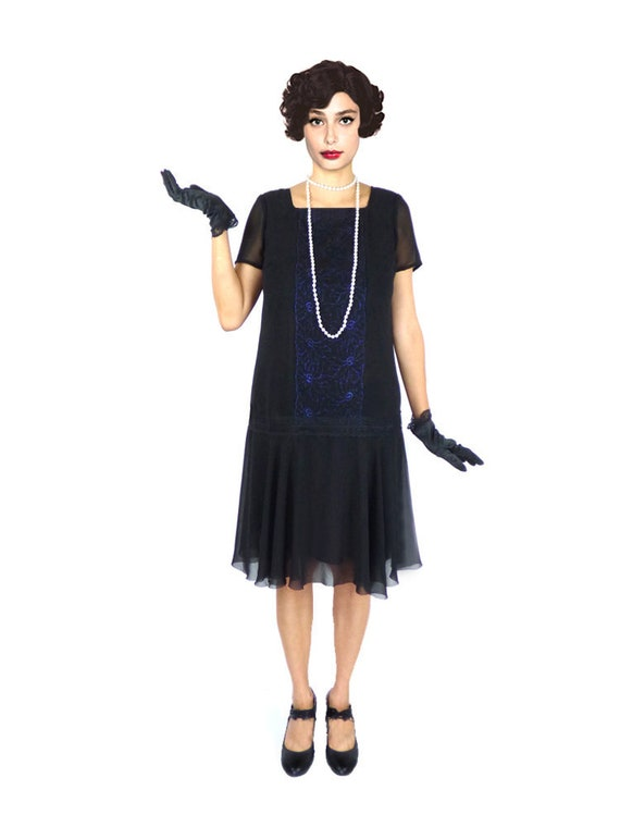 Plus Size Flapper Dress 1920s Dress Roaring 20s Dress Black Etsy