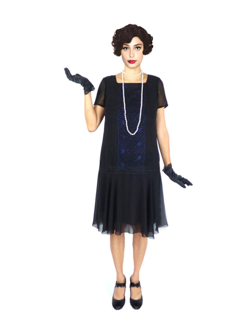 Plus Size Flapper Dress 1920s Dress Roaring 20s Dress Black | Etsy