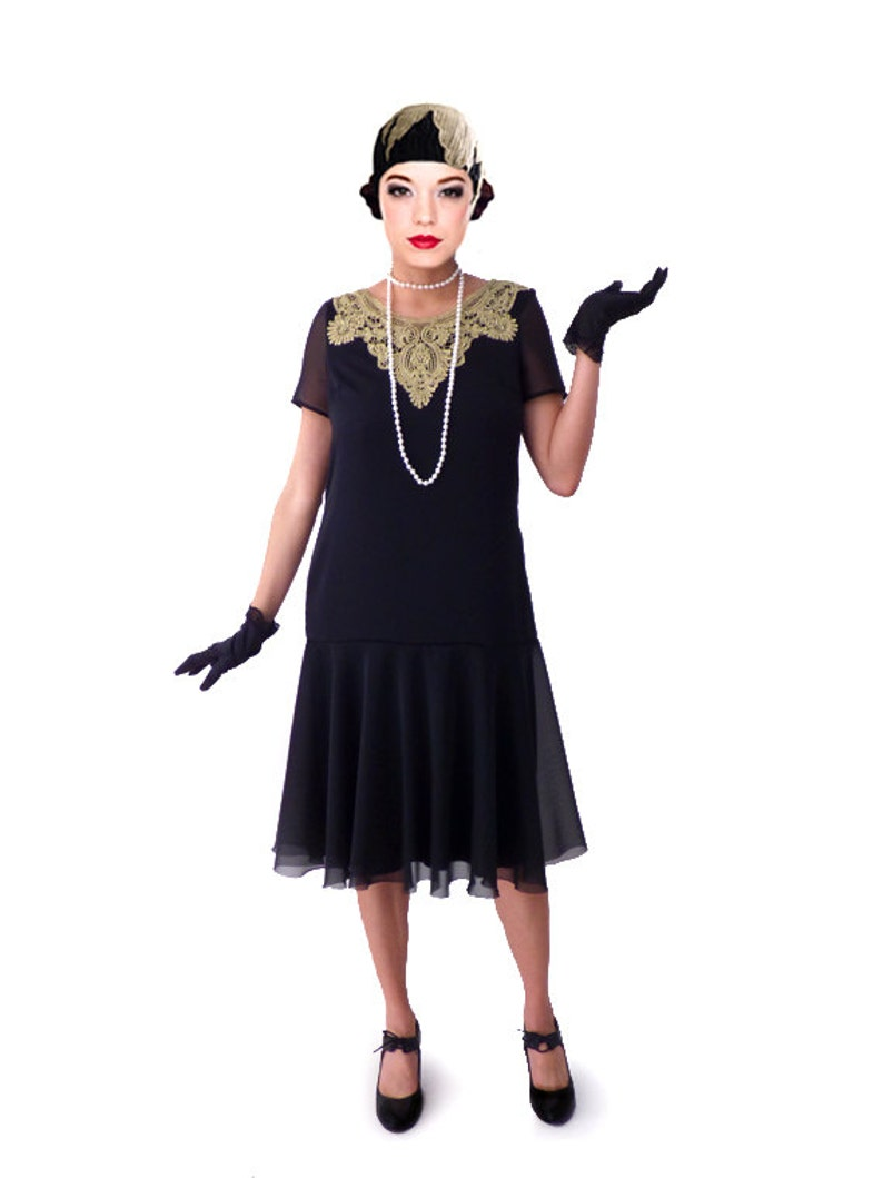1920s Dresses UK | Flapper, Gatsby, Downton Abbey Dress Gold collar 1920s dress for your flapper party with different sizes $98.00 AT vintagedancer.com