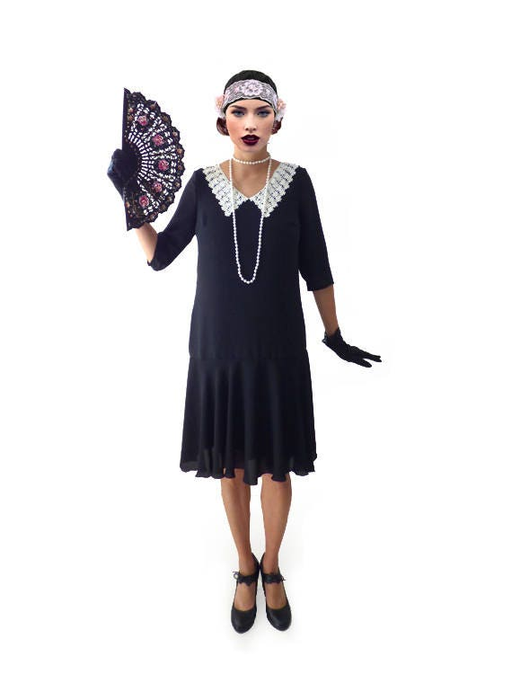 1920s Dresses UK | Flapper, Gatsby, Downton Abbey Dress Retro Flapper Dress Great Gatsby Dress Flapper Costume 1920s Dress 20s Dress Roaring 20s Dress Downton Abbey Dress Black Chiffon $98.00 AT vintagedancer.com