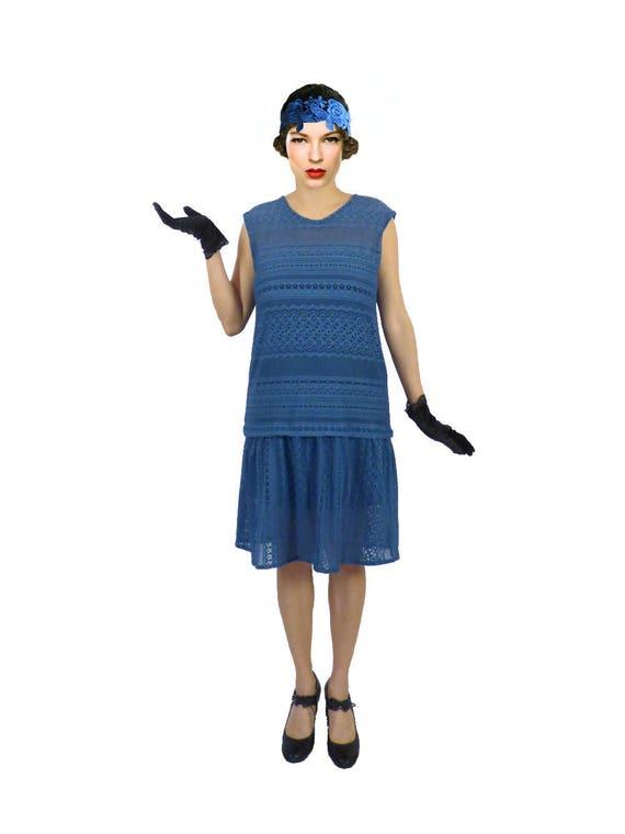 robe ann e 20 robe charleston robe bleu robe taille basse. Black Bedroom Furniture Sets. Home Design Ideas