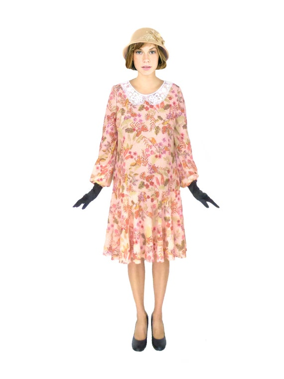 1920s Downton Abbey Dresses  Peter Pan Collar 1920s dress Folded Roses $91.00 AT vintagedancer.com