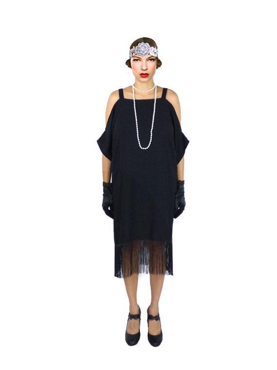 Retro Flapper Dress Black Cut Out Shoulder Great Gatsby Fringe Etsy