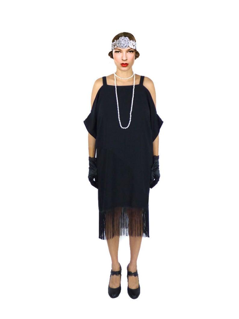 Retro Flapper Dress Black Cut Out Shoulder Great Gatsby Fringe  279439d36ab4