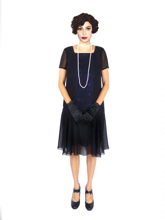 Plus Size Flapper Dress 1920s Dress Roaring 20s Dress Black Etsy