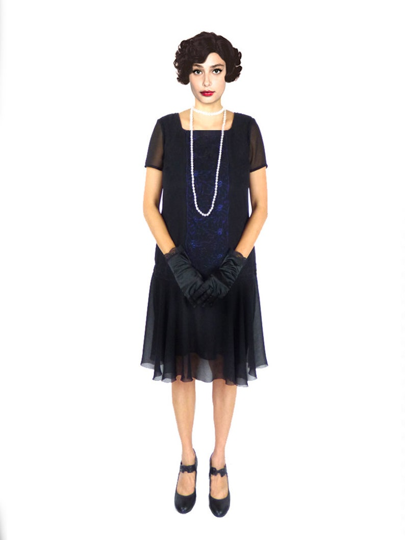 1920s Plus Size Flapper Dresses, Gatsby Dresses, Flapper Costumes Plus Size Flapper Dress 1920s Dress Roaring 20s Dress Black Dress Low Waist DressKnee Length Downton Abbey Custom Sheath Cocktail foldedroses $108.00 AT vintagedancer.com