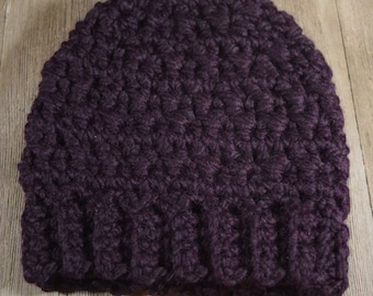 Crochet Messy Bun / Ponytail Hat ~ Eggplant