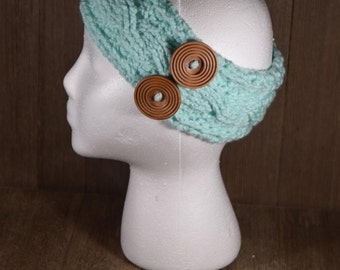 Cable Stitch Crochet Ear Warmer Headband - Minty