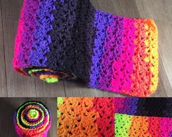 Jazzy Striping Scarf ~*~Crochet~*~ Bright Stripes