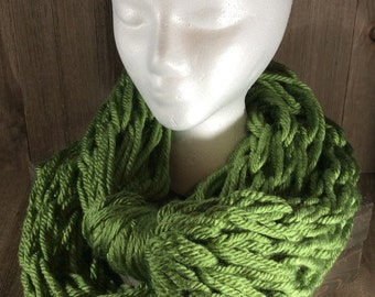 Super Bulky Arm Knit Infinity Scarf ~ Oklahoma City Green