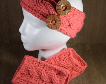 Cable Stitch Crochet Ear Warmer Headband & Wrist Warmer Fingerless Glove Set - Papaya