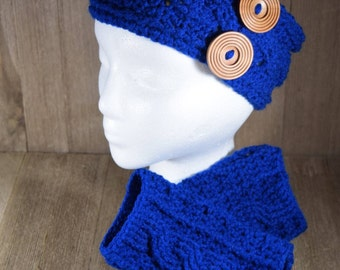 Cable Stitch Crochet Ear Warmer Headband & Wrist Warmer Fingerless Glove Set - Peacock
