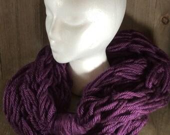 Super Bulky Arm Knit Infinity Scarf ~ Portland Wine