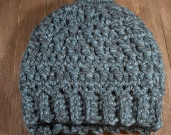 Crochet Messy Bun / Ponytail Hat ~ Blueberry