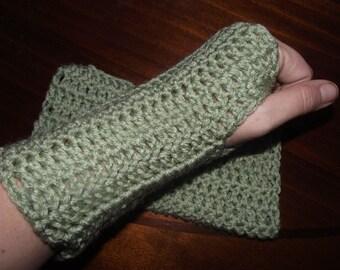 Frosty Green Crochet Fingerless Gloves/ Wrist Warmers