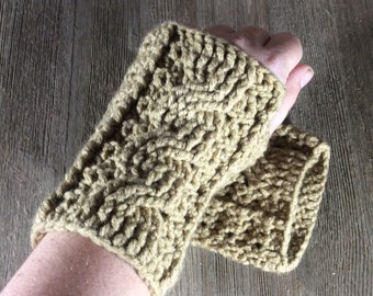 Cable Stitch Crochet Wrist Warmer Fingerless Gloves - Tan