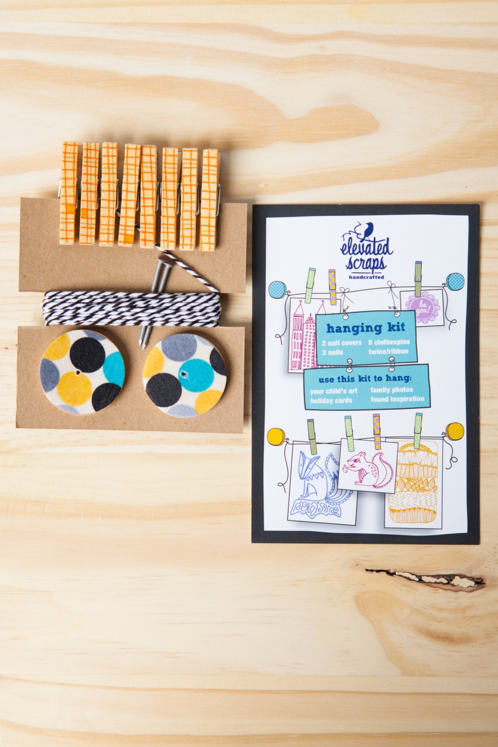 Art Hanging Kit ~ Mini Clothespins ~ Baker's Twine ~ Yellows, Greys and Blues
