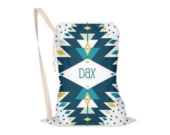 Laundry Bag, Oversided Drawstring Bag, Laundry Tote, Laundry Drawstring Bag, Monogrammed, Personalized: Boho Thunder 3