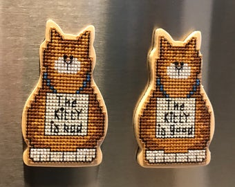 Good Kitty/ Bad Kitty Cross Stitch Magnet Set