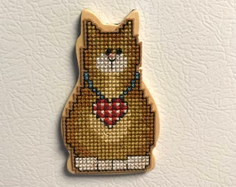 Cat Cross Stitch Magnet