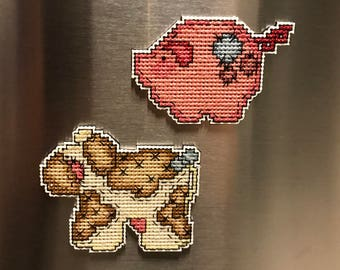 Pig and Cow Cross Stitch Magnet Set