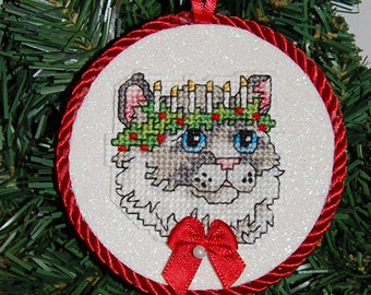 Cat & Candles Cross Stitch Christmas Ornament