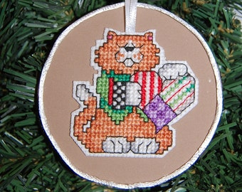Cat with Heart Cross Stitch Christmas Ornament
