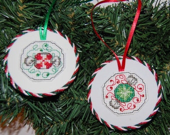 Candy Cross Stitch Christmas Ornaments (set of two)